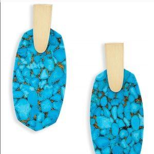 💯auth Kendra Scott Aragon Bronze Veined Turquoise